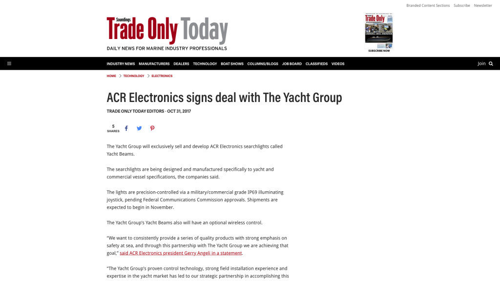 Yacht Beam Press Release on Sounding's Trade Only Today